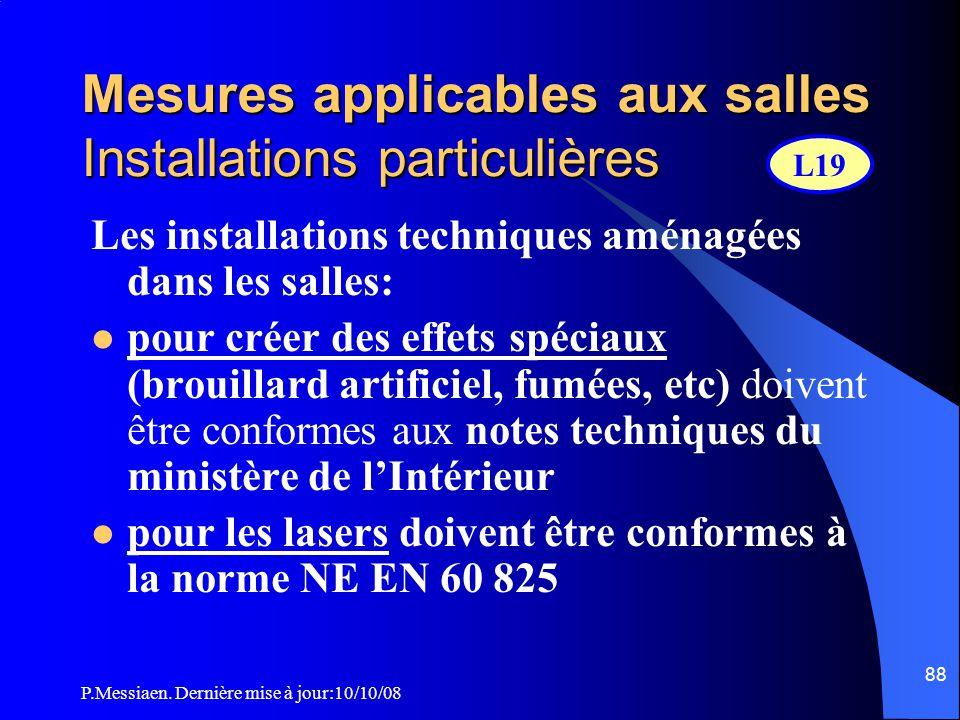 Mesures applicables aux salles Installations particulières