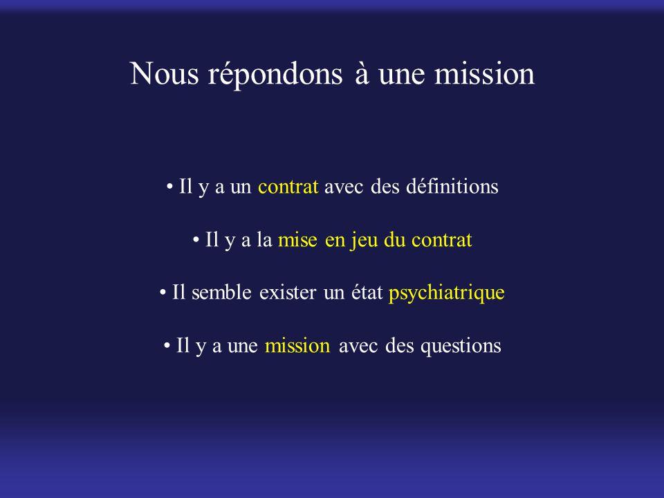 Nous répondons à une mission • Il y a un contrat avec des définitions • Il y a la mise en jeu du contrat • Il semble exister un état psychiatrique • Il y a une mission avec des questions