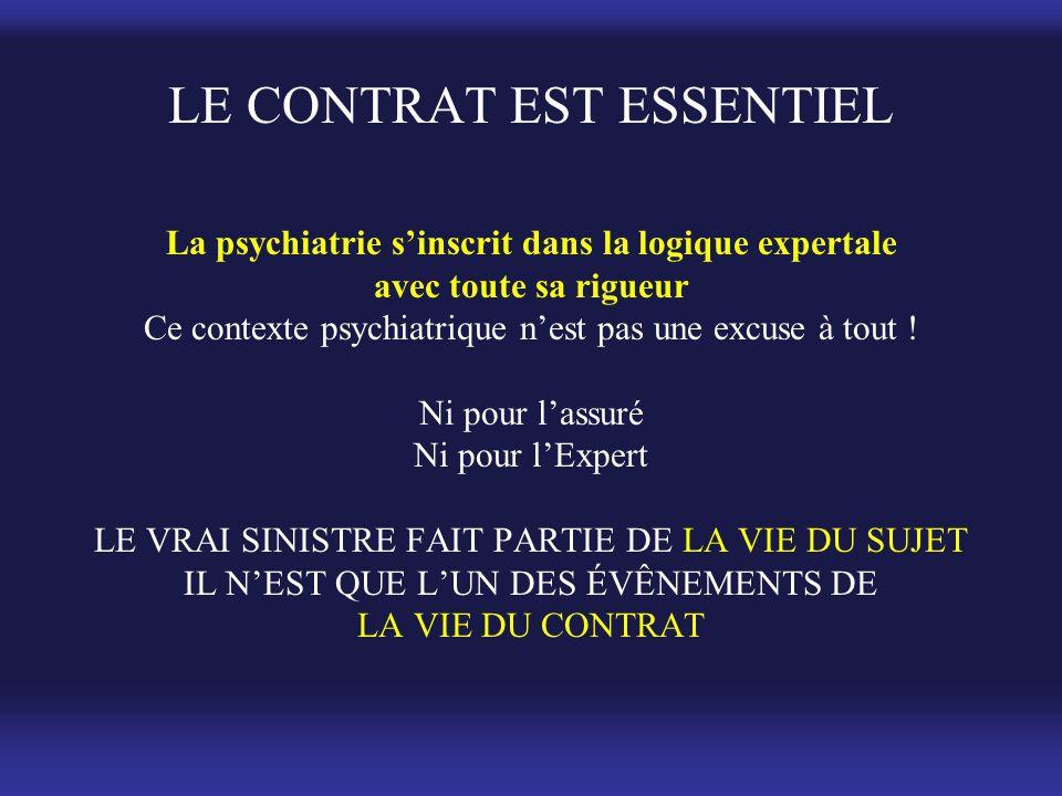 LE CONTRAT EST ESSENTIEL La psychiatrie s'inscrit dans la logique expertale avec toute sa rigueur Ce contexte psychiatrique n'est pas une excuse à tout .