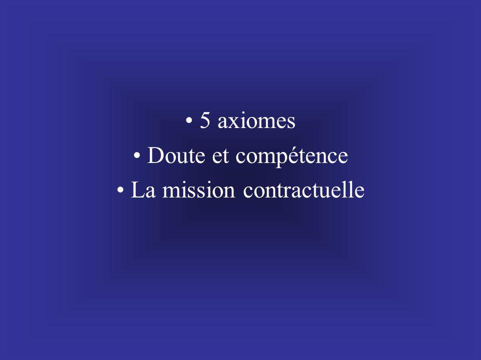 5 axiomes Doute et compétence La mission contractuelle