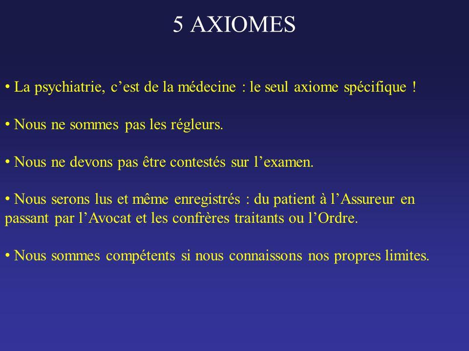 5 AXIOMES La psychiatrie, c'est de la médecine : le seul axiome spécifique ! Nous ne sommes pas les régleurs.