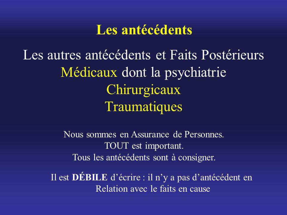 Les antécédents Les autres antécédents et Faits Postérieurs Médicaux dont la psychiatrie Chirurgicaux Traumatiques.