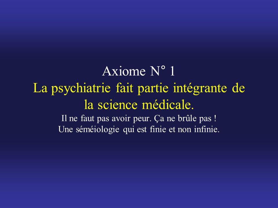 Axiome N° 1 La psychiatrie fait partie intégrante de la science médicale.