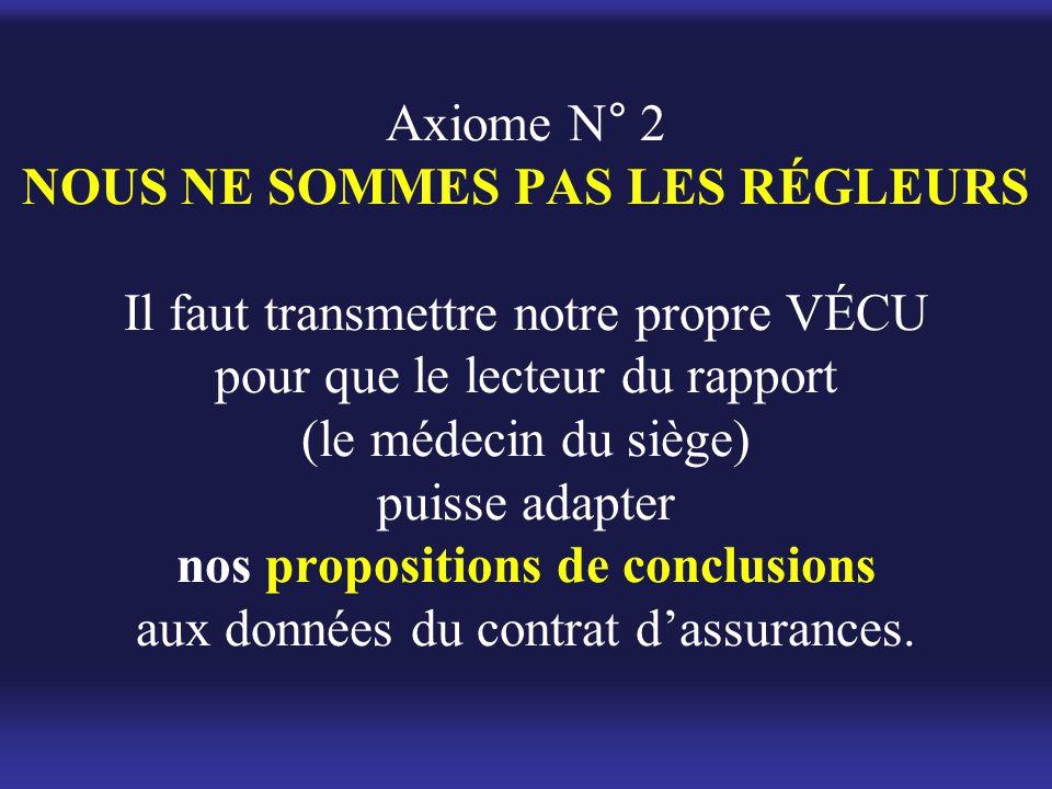 Axiome N° 2 NOUS NE SOMMES PAS LES RÉGLEURS Il faut transmettre notre propre VÉCU pour que le lecteur du rapport (le médecin du siège) puisse adapter nos propositions de conclusions aux données du contrat d'assurances.