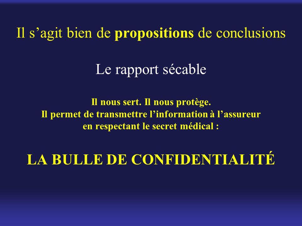 Il s'agit bien de propositions de conclusions Le rapport sécable Il nous sert.