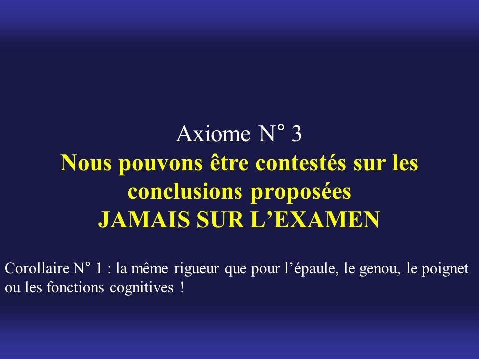 Axiome N° 3 Nous pouvons être contestés sur les conclusions proposées JAMAIS SUR L'EXAMEN