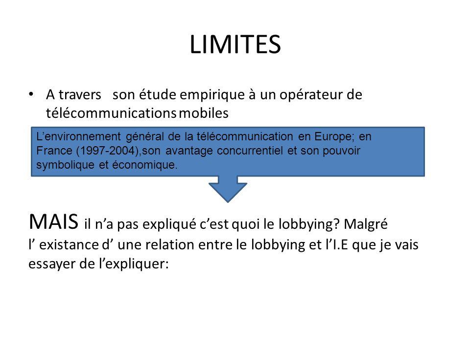 LIMITES A travers son étude empirique à un opérateur de télécommunications mobiles.