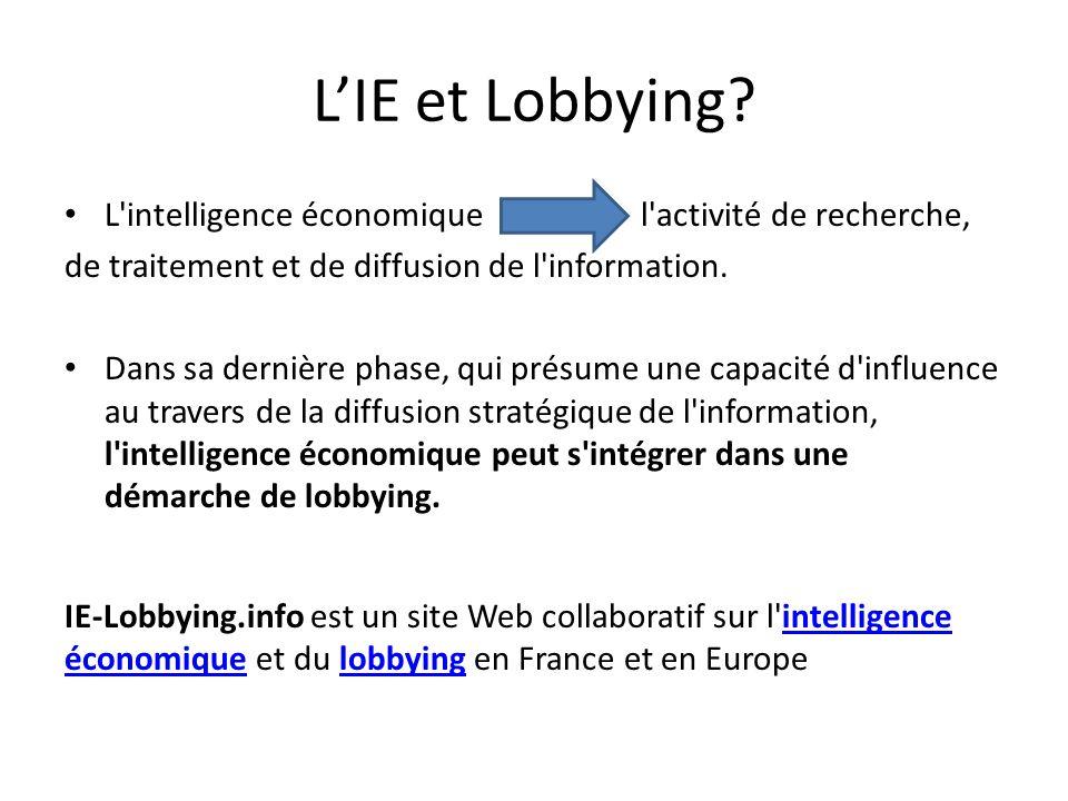 L'IE et Lobbying L intelligence économique l activité de recherche,