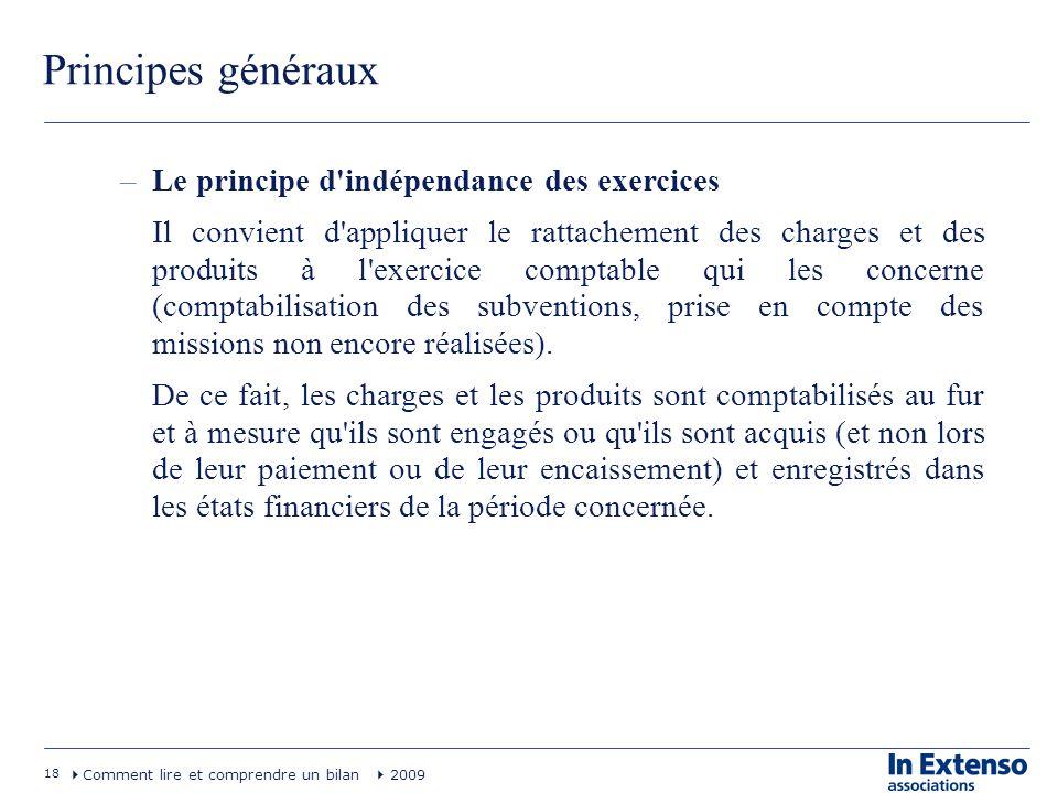 Principes généraux Le principe d indépendance des exercices