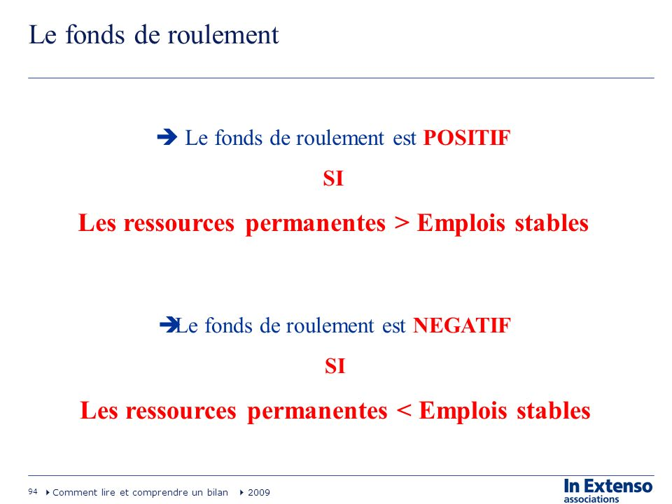Le fonds de roulement Les ressources permanentes > Emplois stables