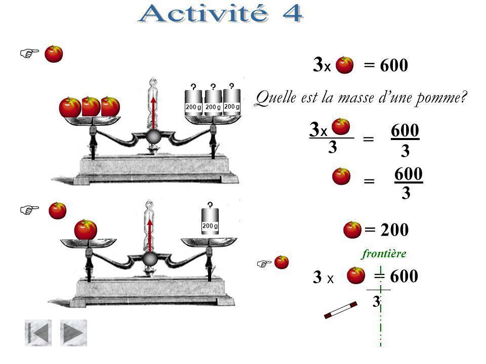 Activité 4   3X = 600 3X 600 = 200 Quelle est la masse d'une pomme