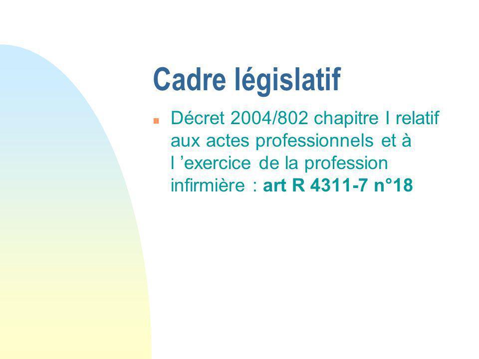 Cadre législatif Décret 2004/802 chapitre I relatif aux actes professionnels et à l 'exercice de la profession infirmière : art R 4311-7 n°18.