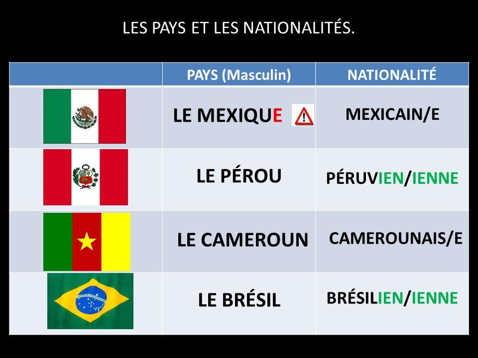 LES PAYS ET LES NATIONALITÉS.