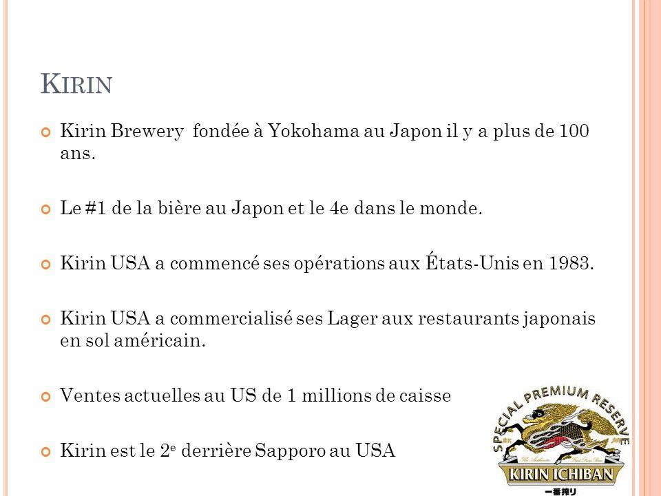 Kirin Kirin Brewery fondée à Yokohama au Japon il y a plus de 100 ans.