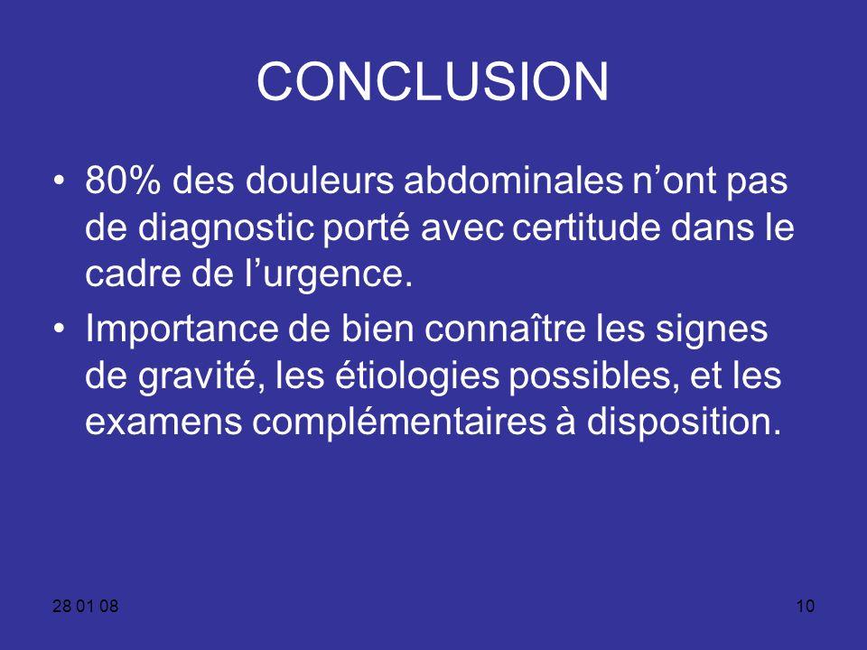 CONCLUSION 80% des douleurs abdominales n'ont pas de diagnostic porté avec certitude dans le cadre de l'urgence.
