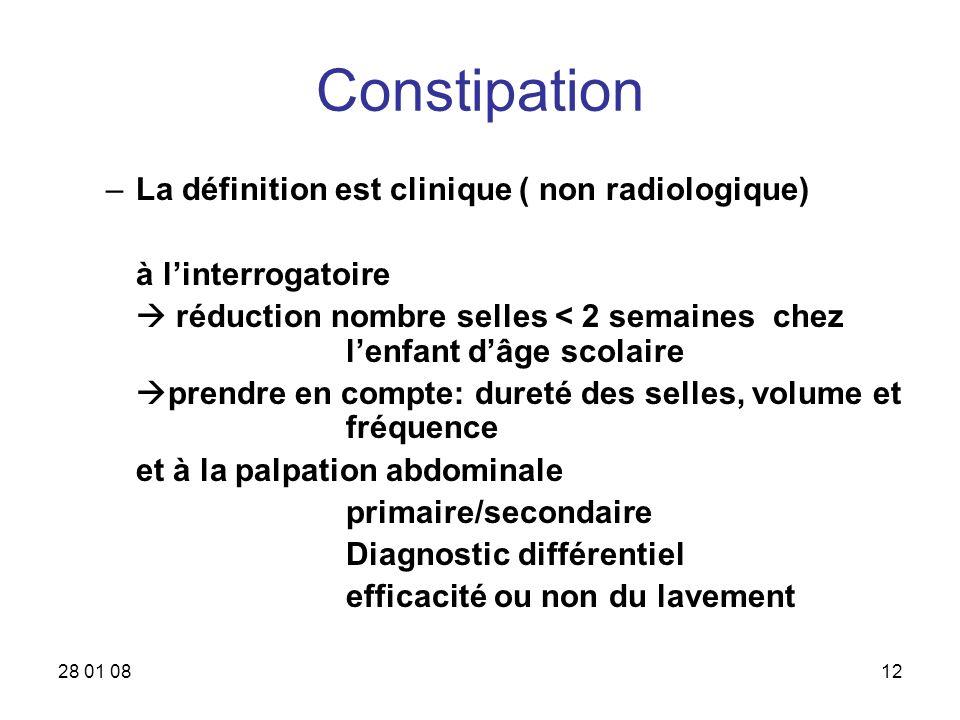 Constipation La définition est clinique ( non radiologique)