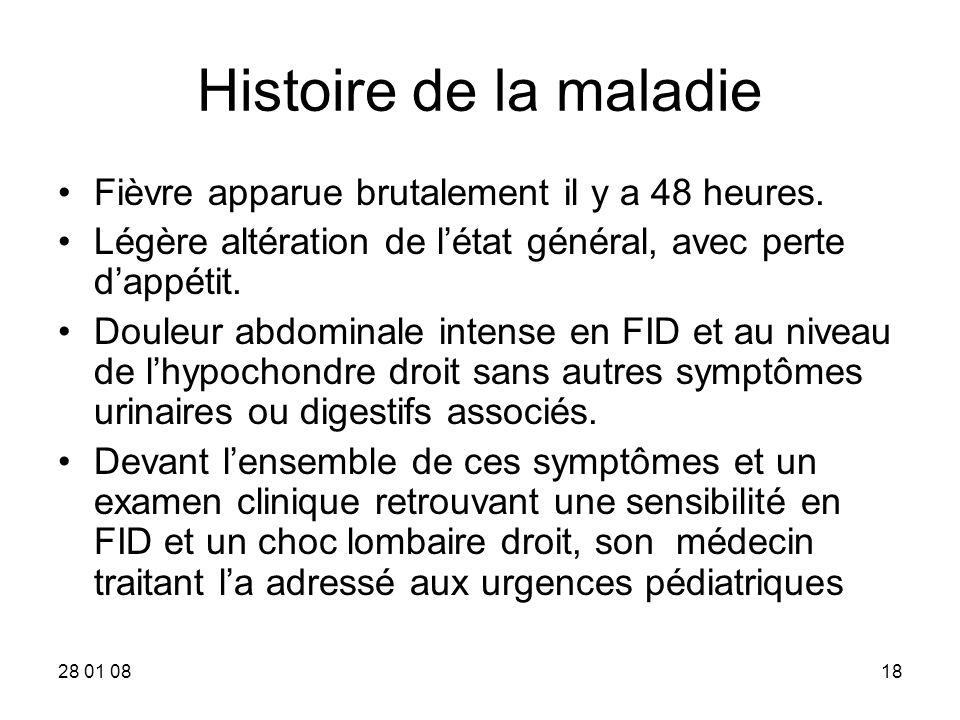 Histoire de la maladie Fièvre apparue brutalement il y a 48 heures.