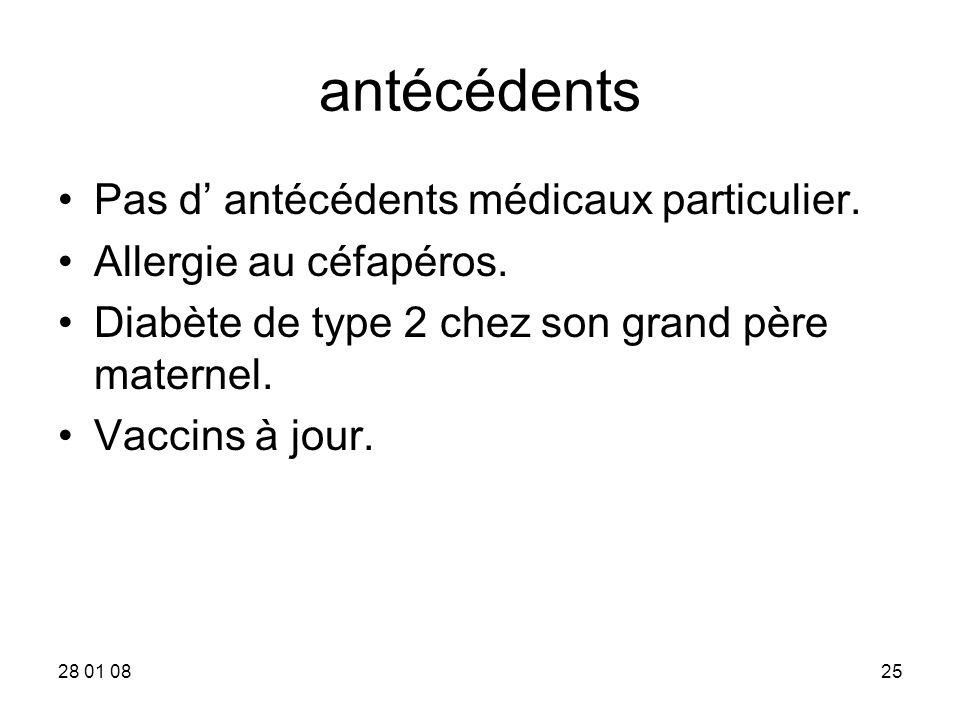 antécédents Pas d' antécédents médicaux particulier.