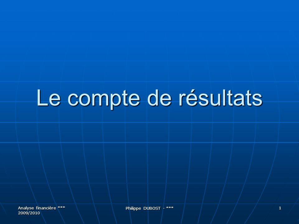 Le compte de résultats Analyse financière *** 2009/2010