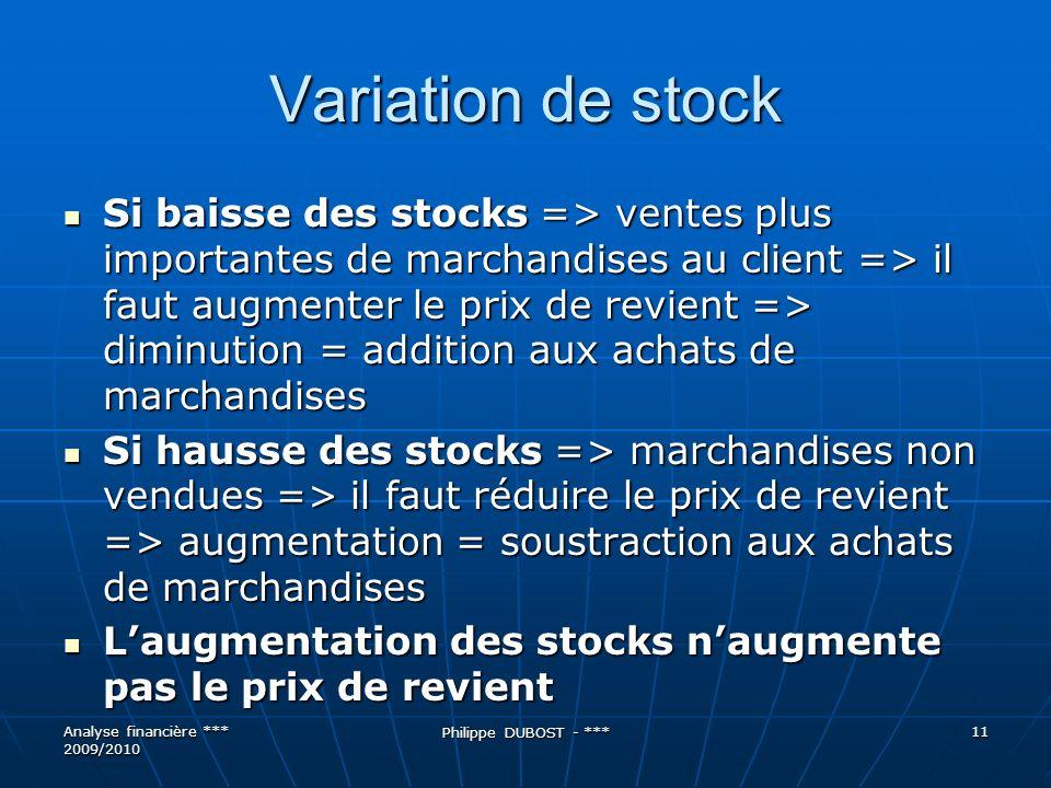 Variation de stock