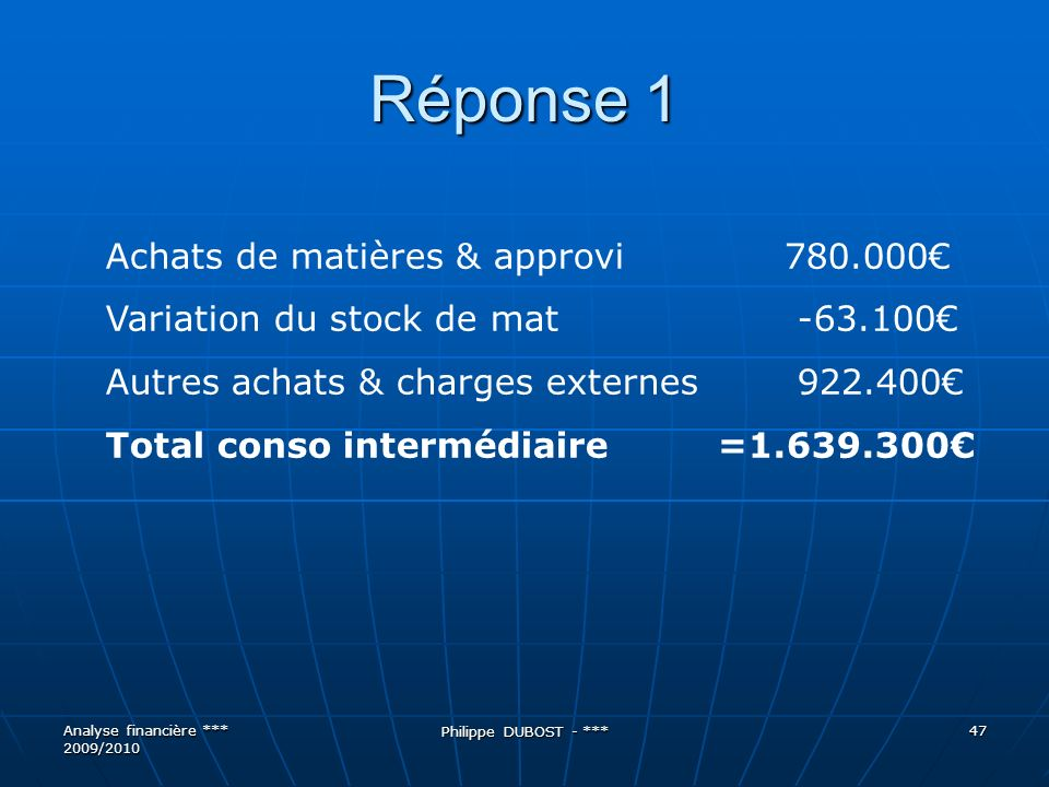 Réponse 1 Achats de matières & approvi 780.000€