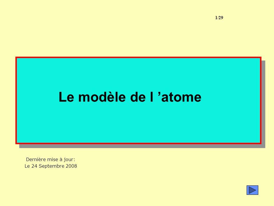 1/29 Le modèle de l 'atome Dernière mise à jour: Le 24 Septembre 2008