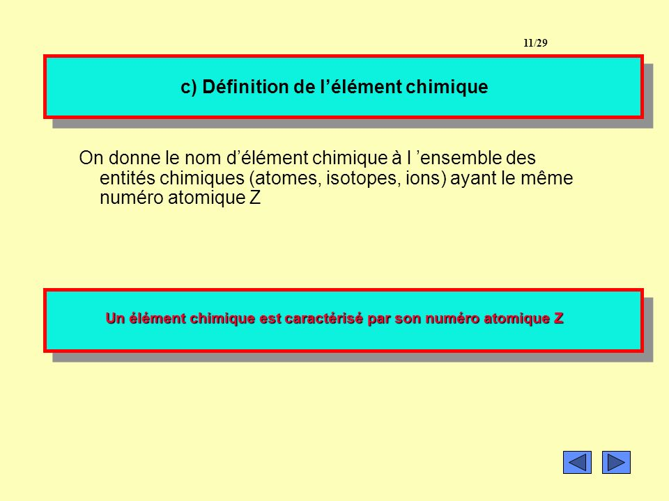 c) Définition de l'élément chimique