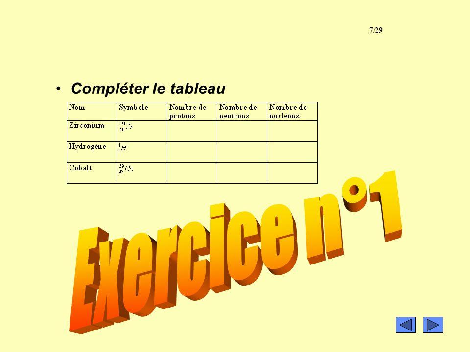 7/29 exercice 1 Compléter le tableau Exercice n°1