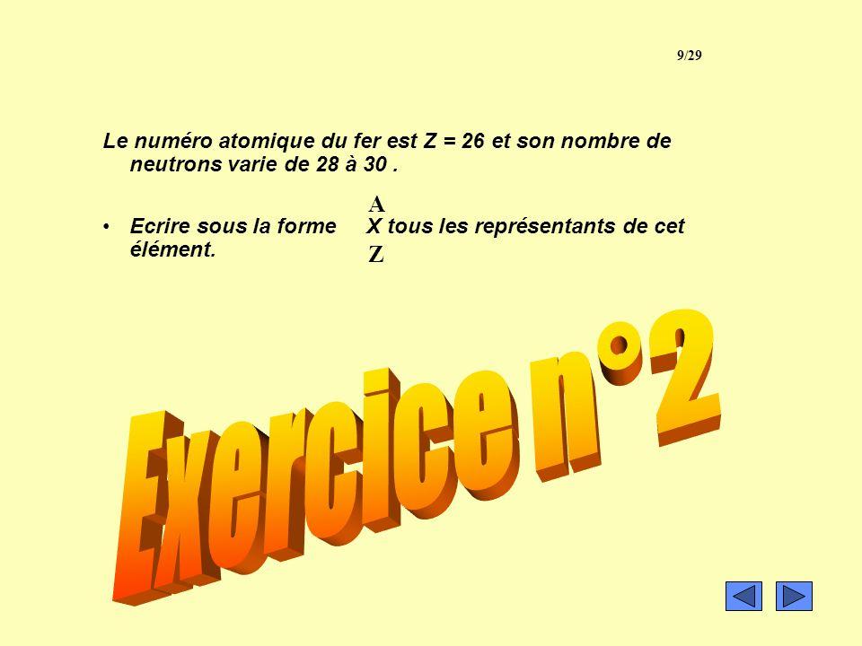9/29 Le numéro atomique du fer est Z = 26 et son nombre de neutrons varie de 28 à 30 .