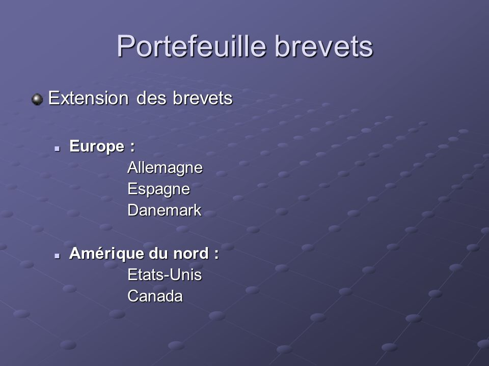 Portefeuille brevets Extension des brevets Europe : Allemagne Espagne