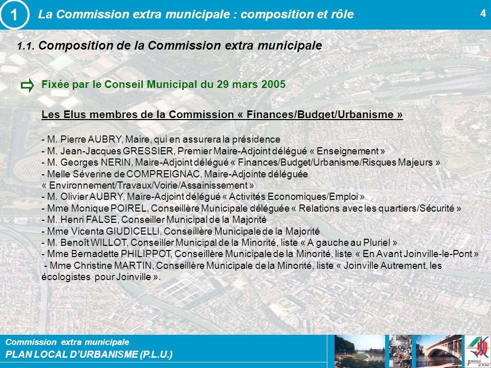 1 La Commission extra municipale : composition et rôle