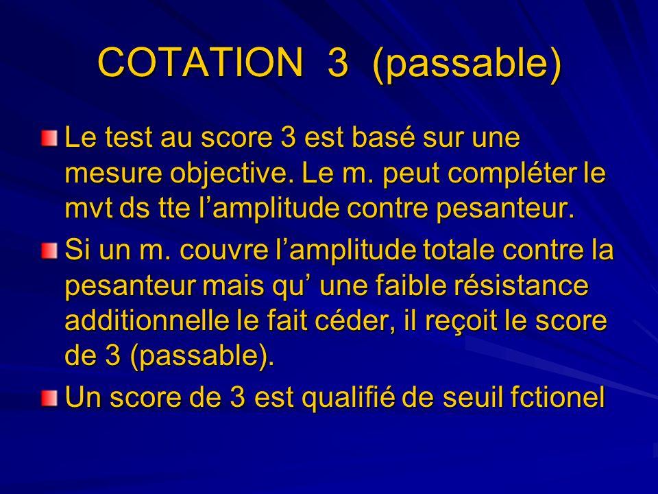 COTATION 3 (passable) Le test au score 3 est basé sur une mesure objective. Le m. peut compléter le mvt ds tte l'amplitude contre pesanteur.
