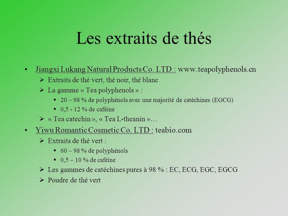 Les extraits de thés Jiangxi Lukang Natural Products Co. LTD : www.teapolyphenols.cn. Extraits de thé vert, thé noir, thé blanc.