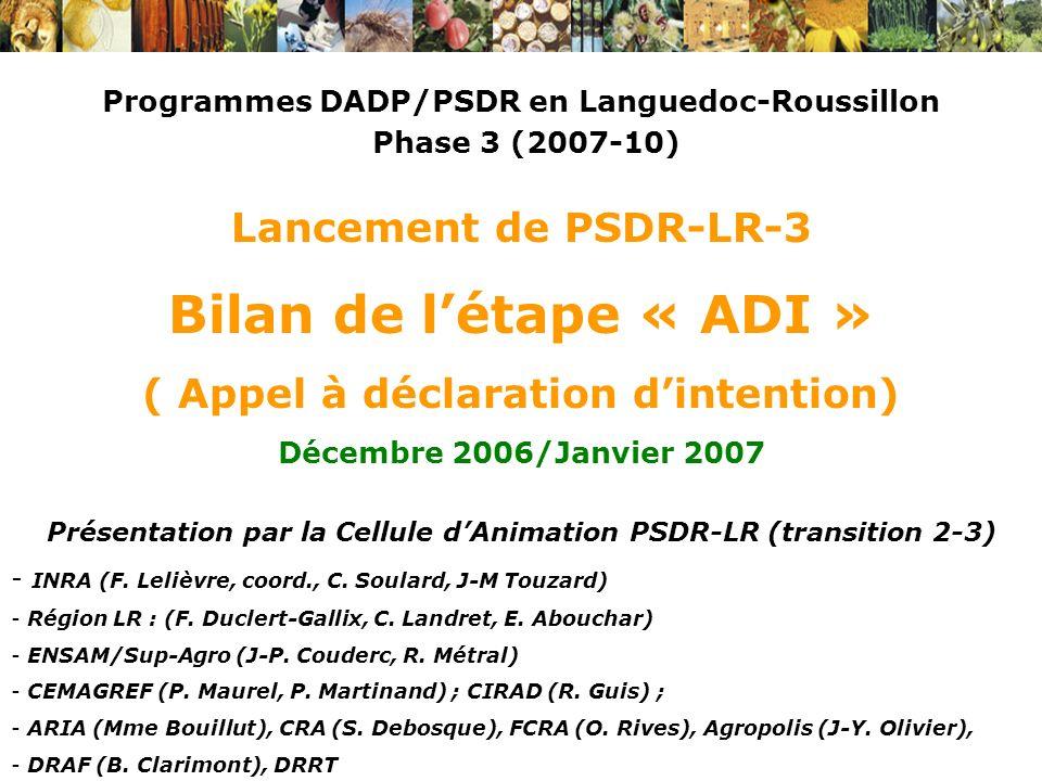 Bilan de l'étape « ADI » Lancement de PSDR-LR-3