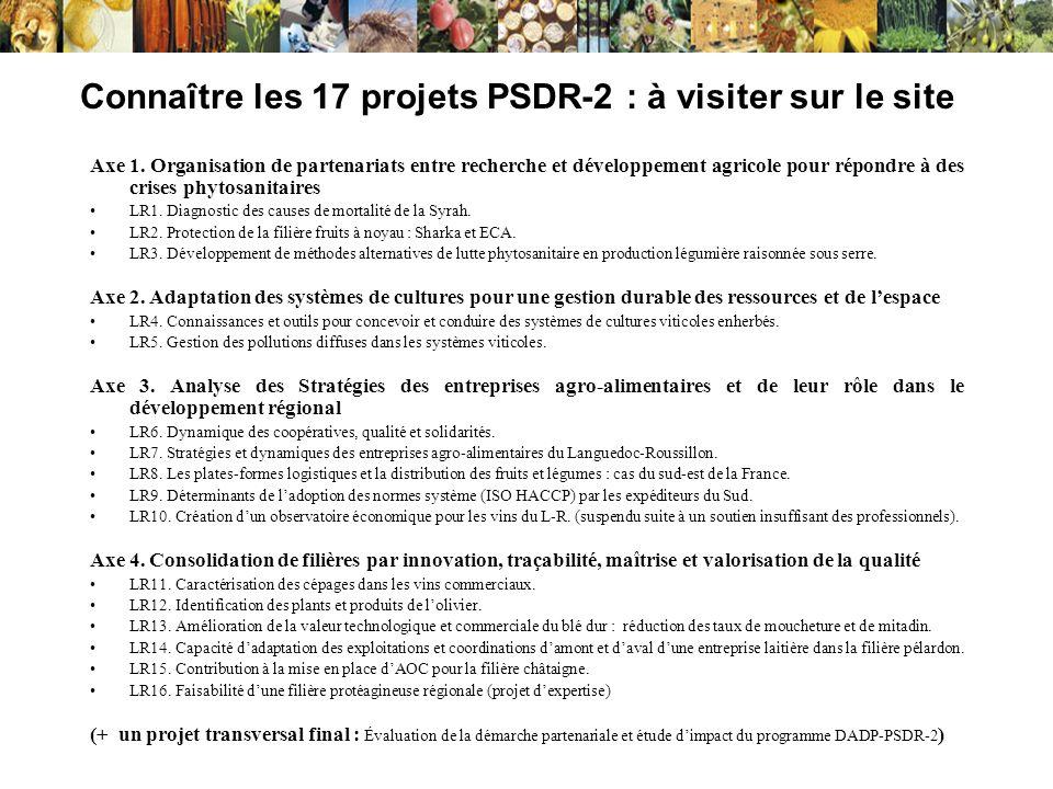 Connaître les 17 projets PSDR-2 : à visiter sur le site