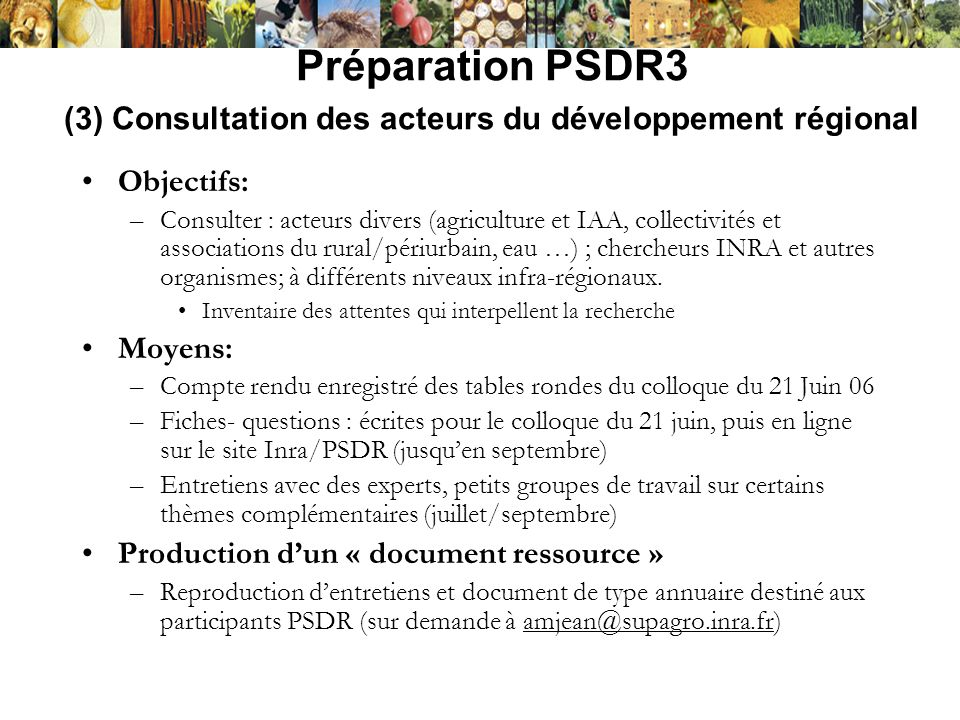 Préparation PSDR3 (3) Consultation des acteurs du développement régional