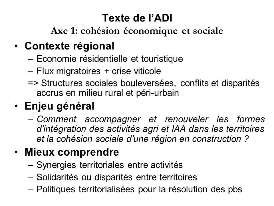 Texte de l'ADI Axe 1: cohésion économique et sociale