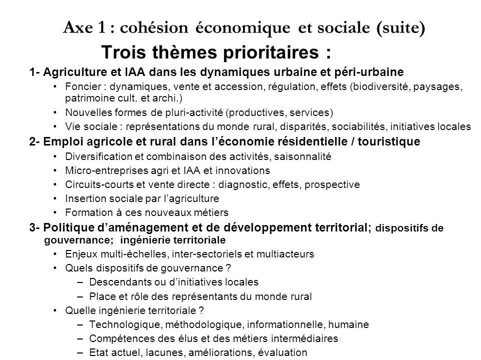 Axe 1 : cohésion économique et sociale (suite)