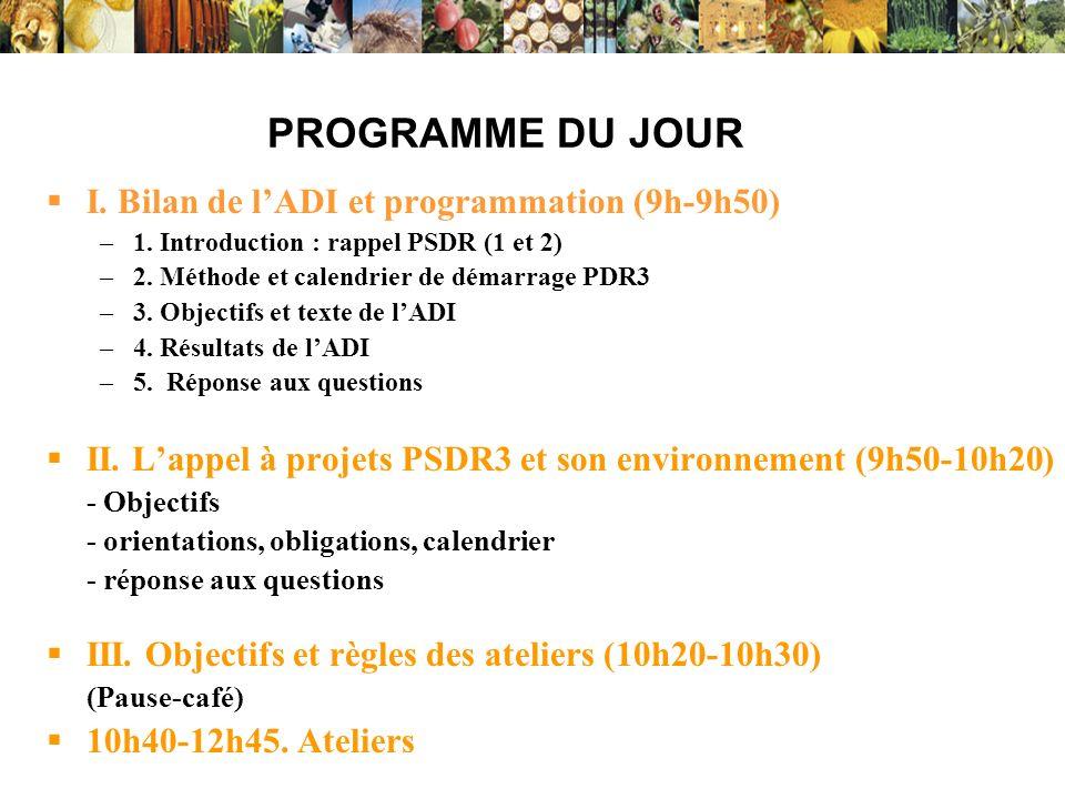 PROGRAMME DU JOUR I. Bilan de l'ADI et programmation (9h-9h50)