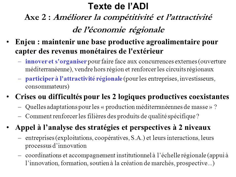 Texte de l'ADI Axe 2 : Améliorer la compétitivité et l'attractivité de l'économie régionale