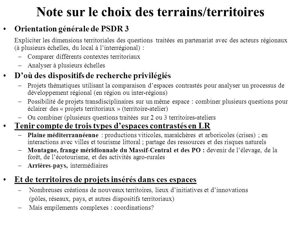 Note sur le choix des terrains/territoires