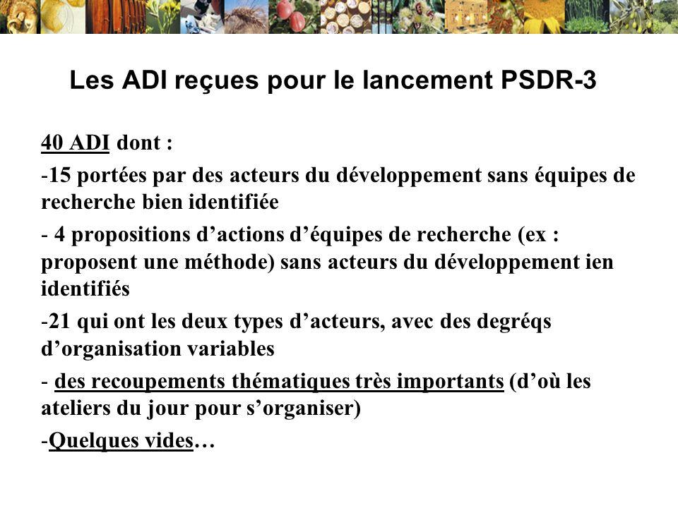 Les ADI reçues pour le lancement PSDR-3