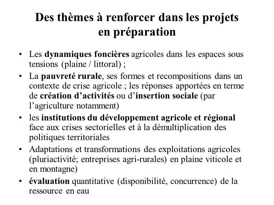 Des thèmes à renforcer dans les projets en préparation