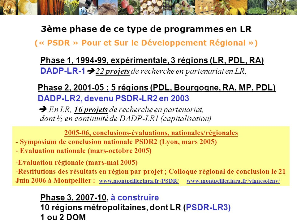 3ème phase de ce type de programmes en LR