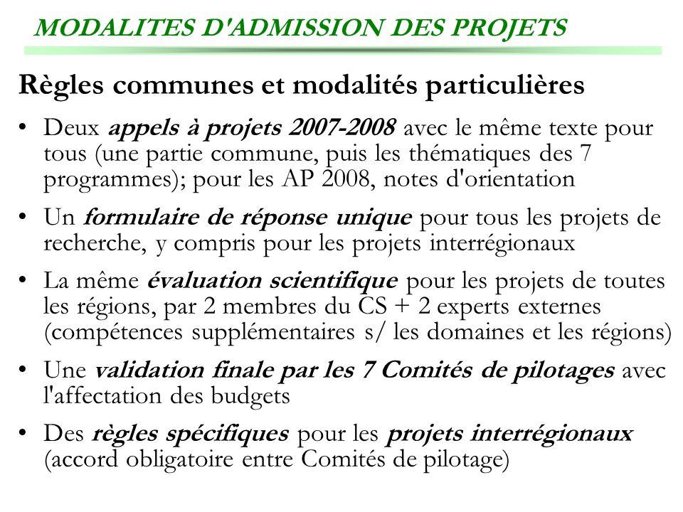MODALITES D ADMISSION DES PROJETS
