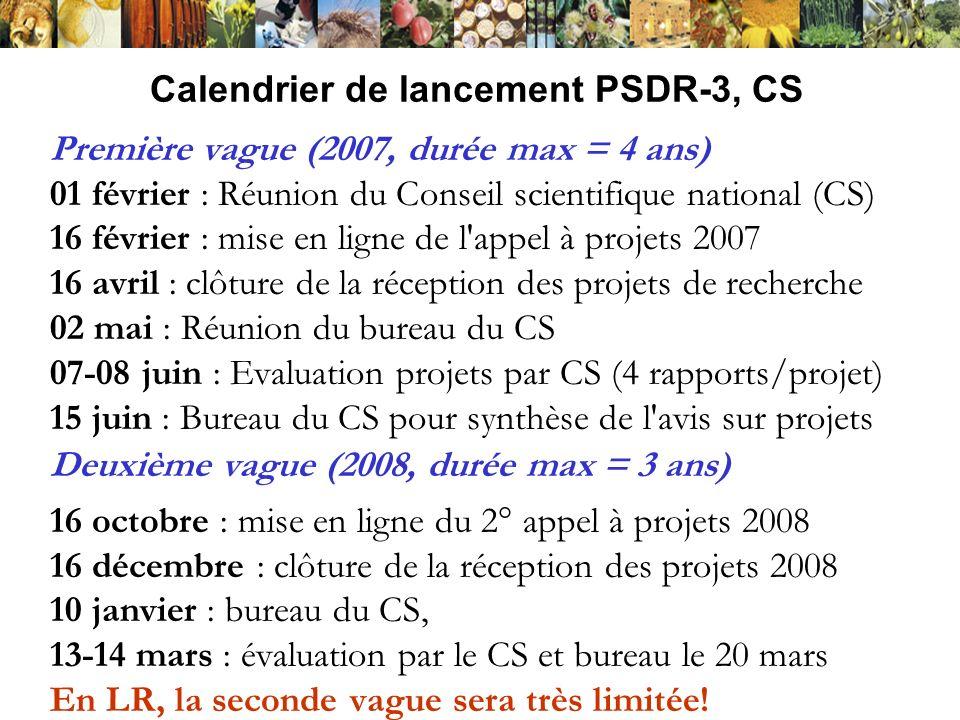 Calendrier de lancement PSDR-3, CS