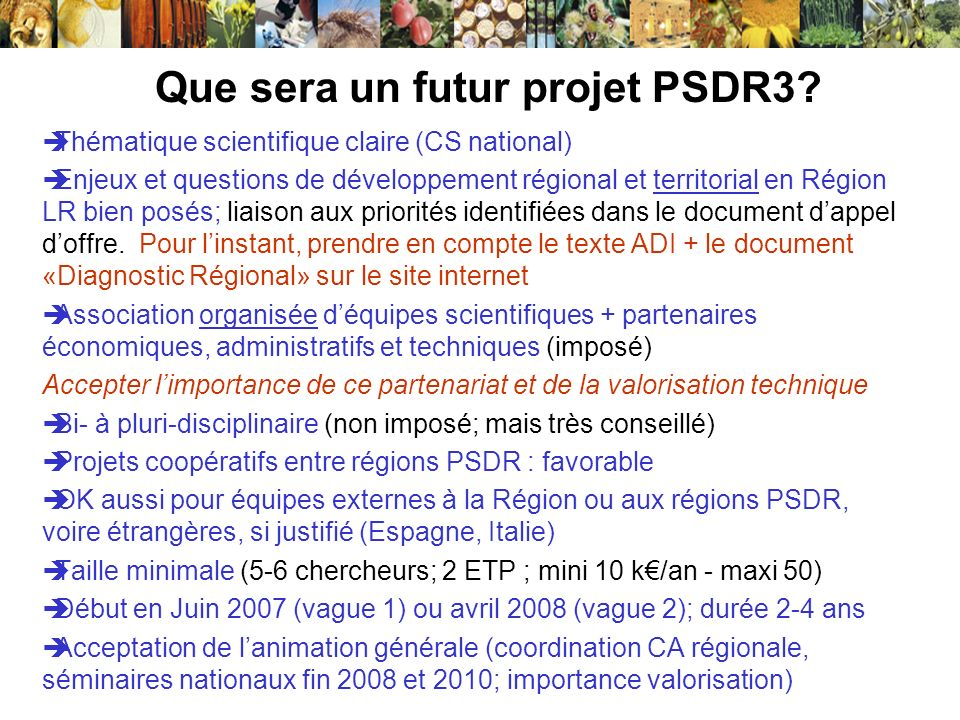 Que sera un futur projet PSDR3