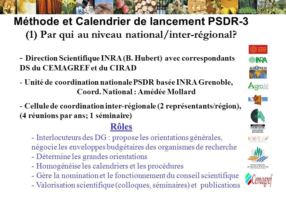 Méthode et Calendrier de lancement PSDR-3 (1) Par qui au niveau national/inter-régional