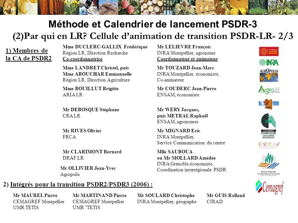 Méthode et Calendrier de lancement PSDR-3 (2)Par qui en LR