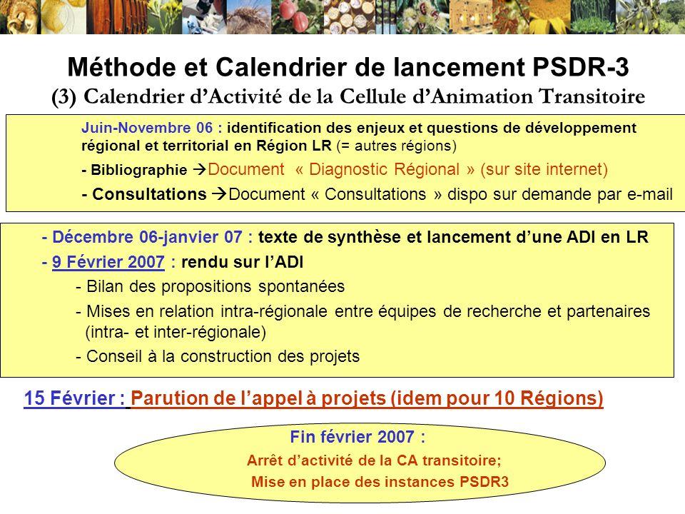 Méthode et Calendrier de lancement PSDR-3 (3) Calendrier d'Activité de la Cellule d'Animation Transitoire